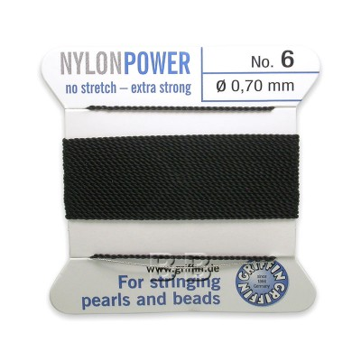 Griffin Nylon Power Bead Cord Black with integral needle 0.70mm Diameter
