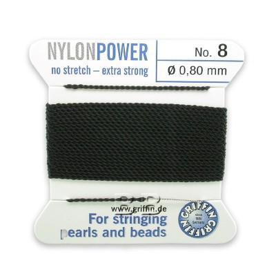 Griffin Nylon Power Bead Cord Black with integral needle 0.80mm Diameter