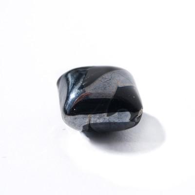 Jet 12x12mm Diamond Cushion with Hematite effect Czech glass Lampwork Bead
