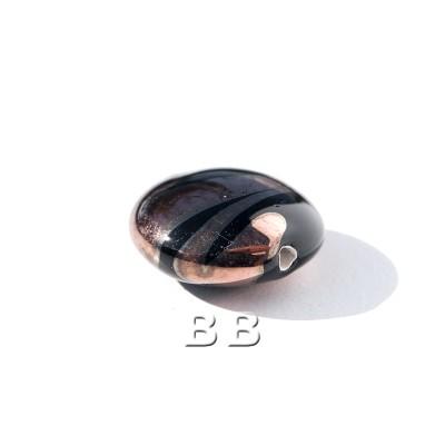 Jet Lentil 12mm with Copper effect Czech glass Lampwork Bead