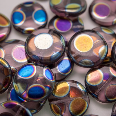 Lavender Mist Peacock Disc 17mm Pressed Glass Bead - Retail system