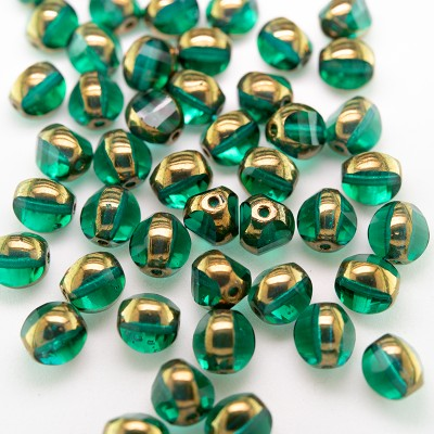 Light Emerald 8mm Tricon Cut, Golden Finished Fire Polished Glass Bead - Retail system