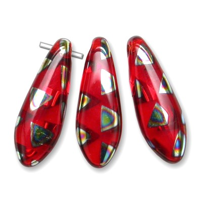 Light Red glass dagger bead Peacock 5x16mm - Retail system