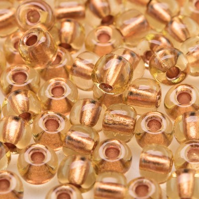 Light Topaz Copper lined size 5/0 seed beads - Retail system