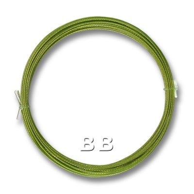 "Lime coloured, nylon coated 0.45mm/.018"" Dia.7x1 Tigertail"