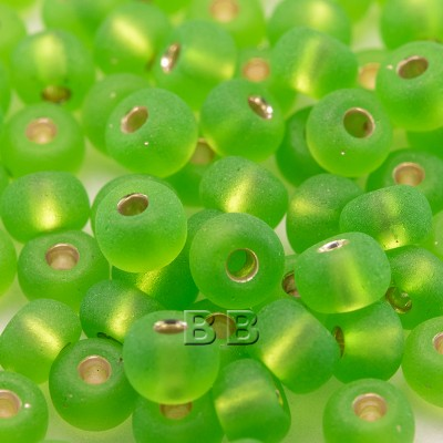 Lime matt glass, silver lined, size 5/0 seed beads - Retail system