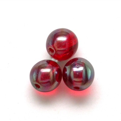 Lollipop Red 6mm round Czech glass druk beads - Retail system