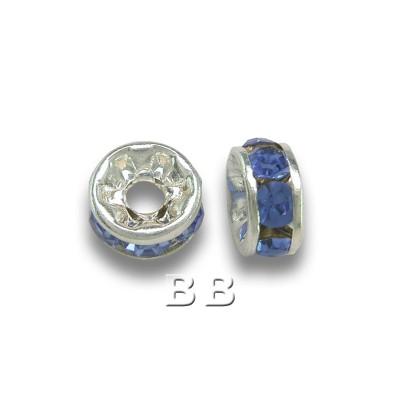 Lt.Sapphire 4.5mm Silver Plate Czech Crystal Rhinestone Rondelle