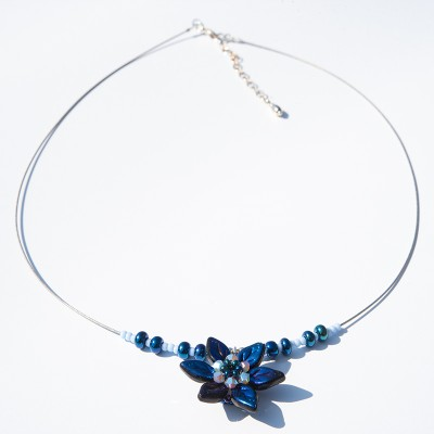 Metallic Blue Flower Glass Bead Necklace