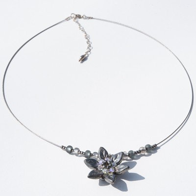 Metallic Chrome Flower Glass Bead Necklace