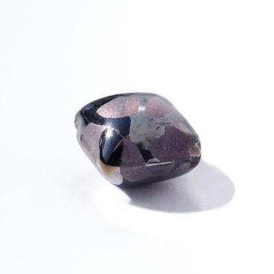 Metallic Purple 12x12mm Diamond Cushion Silver Foil Czech glass Lampwork bead