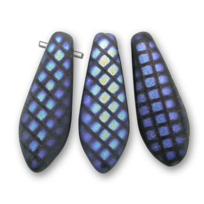 Mini square black matt glass dagger bead mini square Peacock 5x16mm