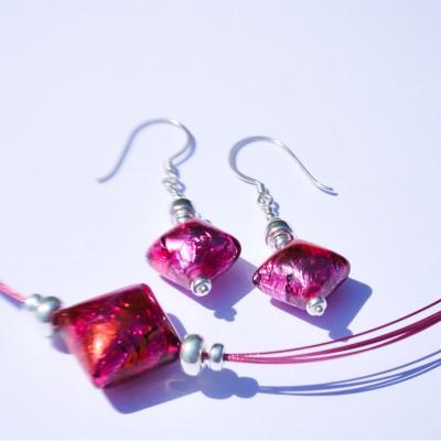 Mini Studio – Fuchsia Czech Lampwork Bead Necklace