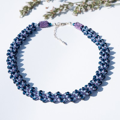 Mini Studio – Steel blue Bubbly Spiral Rope  Necklace Bead Kit