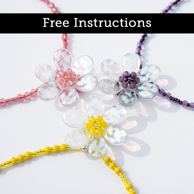 Mini Studio -  Daisy Flower  Glass Bead Necklace - Free Jewellery Instructions