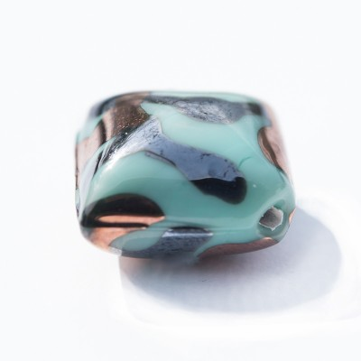 Mint 16x16mm Diamond Cushion with Copper and Hematite Effect Czech glass Lampwork Bead - Retail system