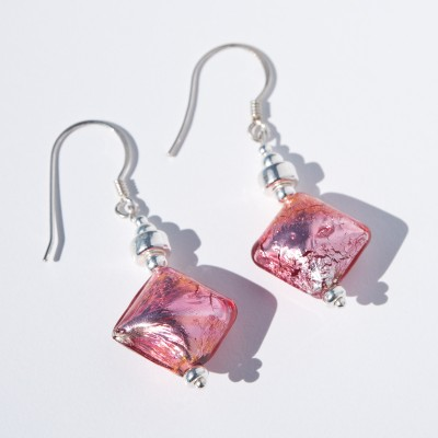 Passion Pink Artisan Glass Bead Earrings