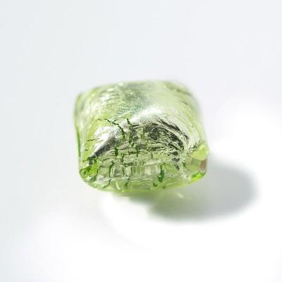 Peridot 12x12mm Diamond Cushion Silver Foil Czech glass Lampwork Bead