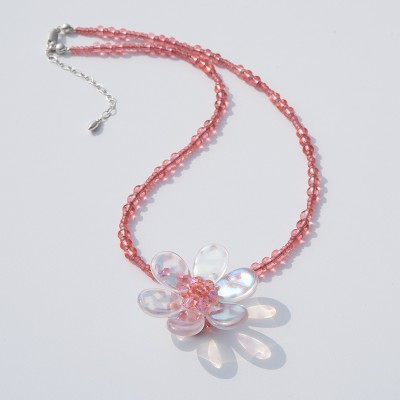 Pink Shimmer Daisy  Glass Bead Necklace