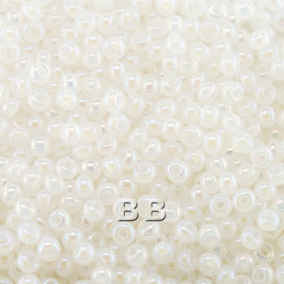 Preciosa 100 Gms Czech glass seed bead 11/0 White Opaque Alabaster Rainbow