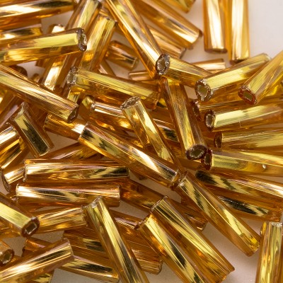 Preciosa 9mm bugle bead Topaz silver lined (inside twisted, smooth on the outside)