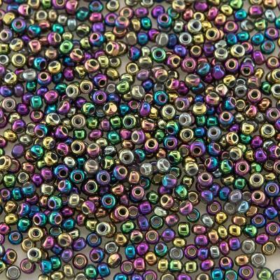 Preciosa Czech glass charlotte seed bead, size 15/0 Bejewelled Iris Metallic coated