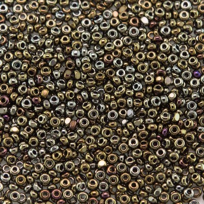 Preciosa Czech glass charlotte seed bead, size 15/0 Bronze Iris coated Metallic