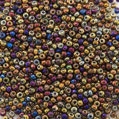 Preciosa Czech glass charlotte seed bead, size 15/0 Bronze Titan coated Metallic