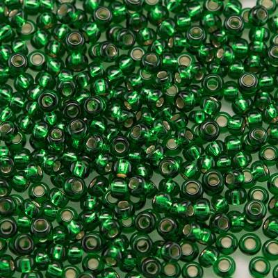 Preciosa Czech glass seed bead 11/0 Dark Green or Emerald silver lined