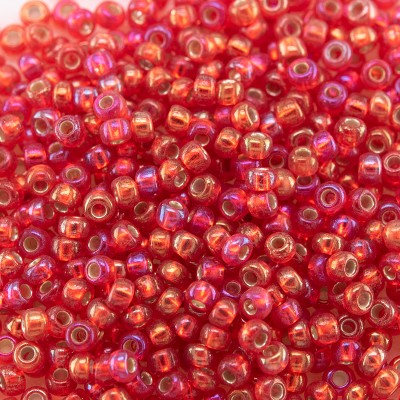 Preciosa Czech glass seed bead 11/0 Light Red silver lined & rainbow