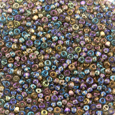 Preciosa Czech glass seed bead 13/0 Rainbow coated grey glass Charlotte