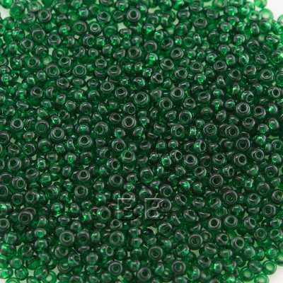 Preciosa Czech glass seed bead 15/0 Dark Green Transparent glass