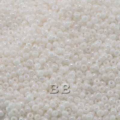 Preciosa Czech glass seed bead 15/0 White Opaque Rainbow