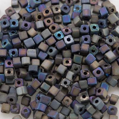 Preciosa Czech glass seed bead 2x2mm Black Iris Matt metallic cube