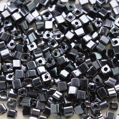 Preciosa Czech glass seed bead 2x2mm Hematite metallic cube