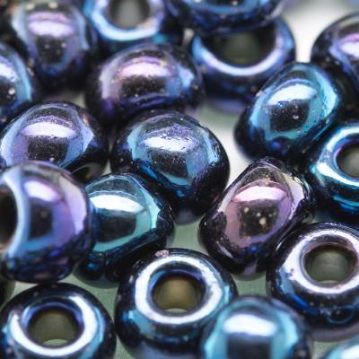 Preciosa Czech glass seed bead 32/0 Blue Iris Metallic coated