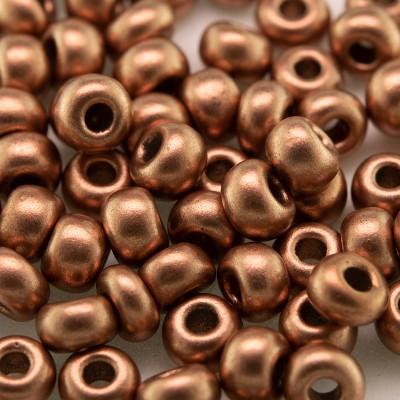 Preciosa Czech glass seed bead 5/0 Brushed Copper metallic coated