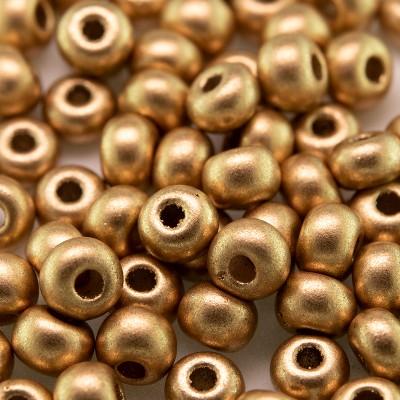 Preciosa Czech glass seed bead 5/0 Brushed Gold metallic coated
