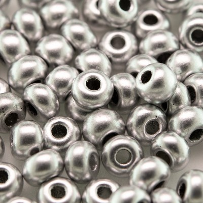 Preciosa Czech glass seed bead 5/0 Brushed Silver metallic coated