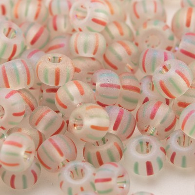 Preciosa Czech glass seed bead 5/0 Clear glass seed bead with Red & Green Stripes Matt and Rainbow