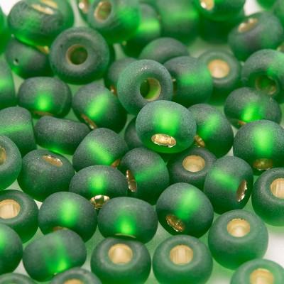 Preciosa Czech glass seed bead 5/0 Dark Green glass, matt silver lined