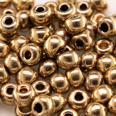 Preciosa Czech glass seed bead 5/0 Golden Bronze Metallic coated