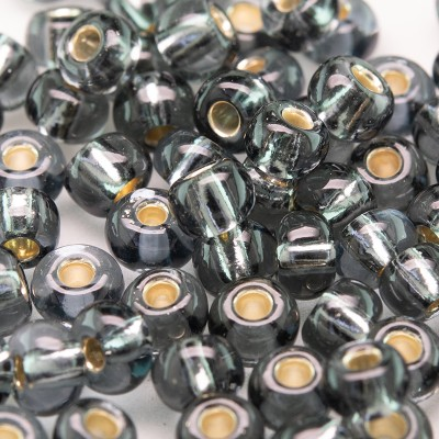 Preciosa Czech glass seed bead 5/0 Grey silver Lined