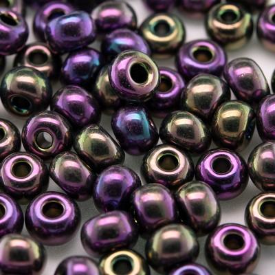 Preciosa Czech glass seed bead 5/0 Purple Iris iridescent metallic coated