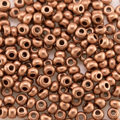 Preciosa Czech glass seed bead 9/0 Brushed Copper Metallic coated