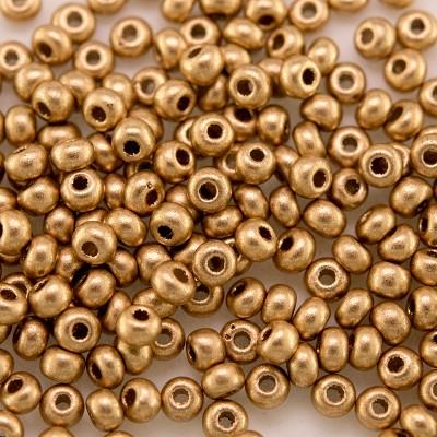 Preciosa Czech glass seed bead 9/0 Brushed Gold Metallic coated