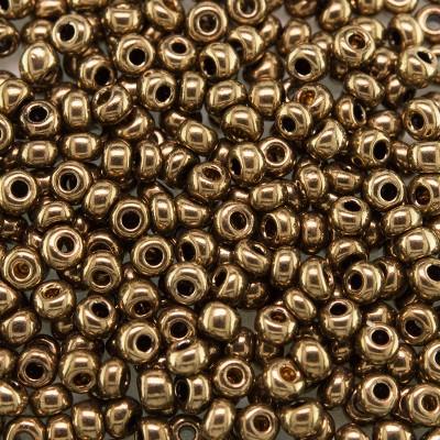 Preciosa Czech glass seed bead 9/0 Golden Bronze Metallic coated