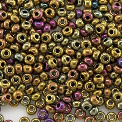 Preciosa Czech glass seed bead 9/0 Metallic mixed golden shades