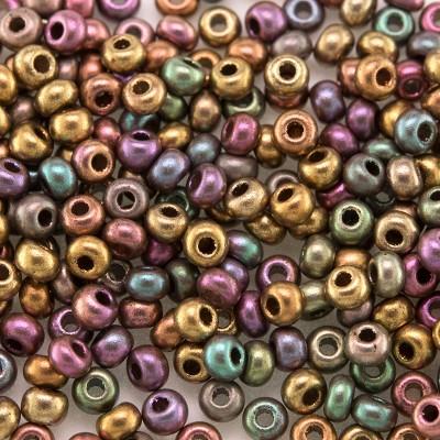 Preciosa Czech glass seed bead 9/0 Mixed Copper Metallic coated