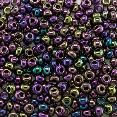 Preciosa Czech glass seed bead 9/0 Purple Iris Metallic coated